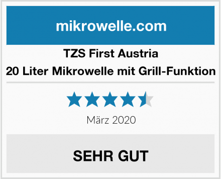 TZS First Austria 20 Liter Mikrowelle mit Grill-Funktion Test